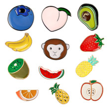 Various Fruits Cute Colorful Pins Monkey loves Fruit Brooches Badges Bag Accessories Enamel Pins Jewelry Kids Gifts For Friends(China)
