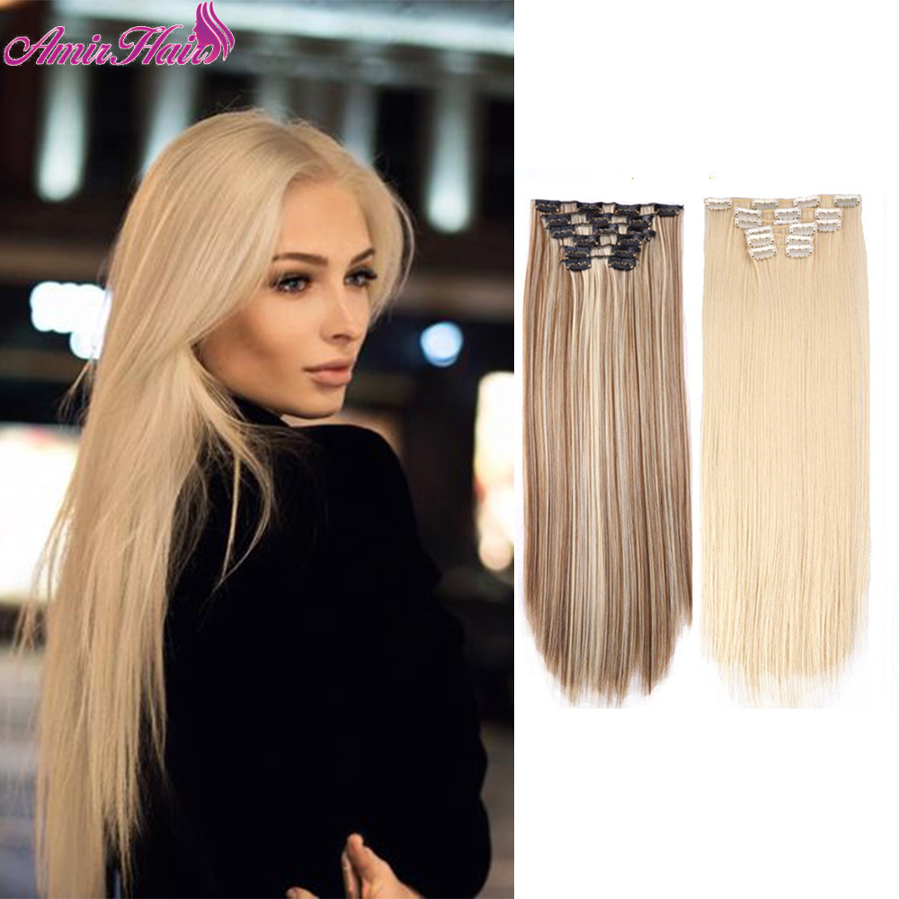 Amir Long Straight Clip in Hair Extensions 22Inch For White Or Black Women Synthetic False Hair Pieces Ombre Natural Dark Brown