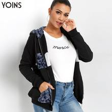 YOINS 2019 Women Autumn Winter Coat Jackets Hooded Zip Front Long Sleeves Coats With Pockets Streetwear Sweatshirt Hoodie silvery long sleeves flight jacket with side zip pockets