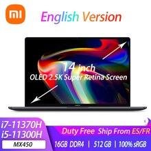 Xiaomi-ordenador portátil Mi Pro 14 i7-11370H/i5-11300H, MX450, 2021 K, súper pantalla Retina, 14 pulgadas, 2,5 sRGB, PC de oficina, 100%