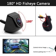 Hd 180 graus fisheye lente câmera do carro traseira/vista frontal grande angular preto metal invertendo câmera de backup visão noturna 12v ccd