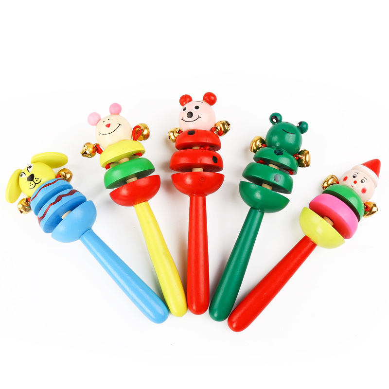 Creative Baby Rattle Wooden Cartoon Animal Rattle 0-1 Year Old Baby Early Education Educational Toys For Toddlers Random Color
