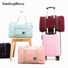 Jakości duża pojemność torby podróżne podróży przechowywanie odzieży torby damskie przenośne torby podróżne wielofunkcyjny składane torby podróżne tanie tanio keating berus Nylon zipper Wszechstronny 16cm Solid 0 15kg KB-50 Miękkie 48cm Moda WOMEN 32cm Podróż torba