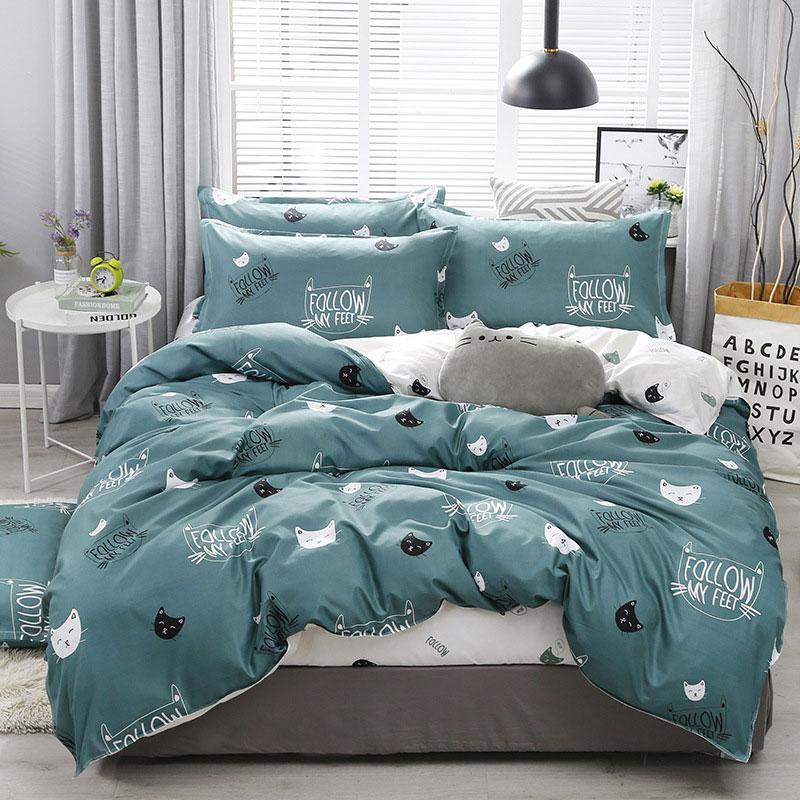 39Cartoon Cat 4pcs Kid Bed Cover Set Cartoon Duvet Cover Adult Child Bed Sheets And Pillowcases Comforter Bedding Set 2TJ-61003