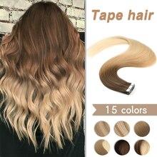 Пряди для наращивания из человеческих волос WIT, настоящие европейские натуральные бесшовные пряди кожи 10-24 дюйма, черный, коричневый, блонд, ...