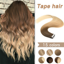 WIT Human Hair Tape Extensions Real European Natural Seamless Skin Weft 10