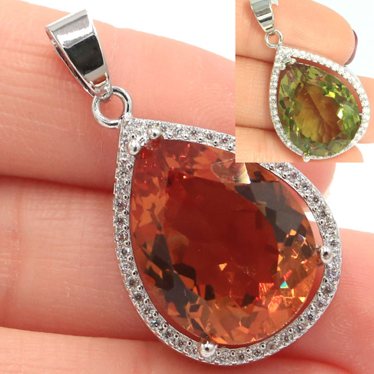 32x19mm Special Big Water Drop 20x15mm Created Color Changing Spinel Zultanite White CZ Ladies Silver Pendant 38x13mm