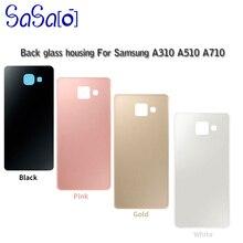 50 Uds A3 A5 A7 2016 reemplazo de la cubierta de vidrio para Samsung Galaxy A310 A510 A5100 A710 puerta de la caja de la batería con etiqueta