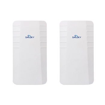 Sailsky 2PCS 300Mbps Wireless CPE Outdoor Wireless Bridge Router Wifi Repeater No Setting with LED Display US Plug