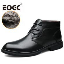 Natural Cow Leather Shoes Men snow Boots Size 37-46 Handmade Genuine leather boots Warm Ankle Winter
