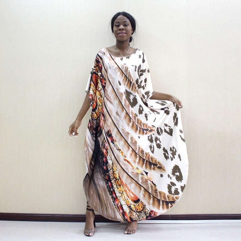 2019 Dashikiage Latest Arrivals Leopard & Feather Pattern Print African Dashiki Plus Size Women Dress Fashion Women Party DressAfrica Clothing   -