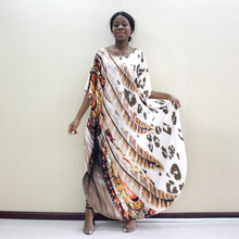 2019 Dashikiage Latest Arrivals Leopard & Feather Pattern Print African Dashiki Plus Size Women Dress Fashion Women Party Dress