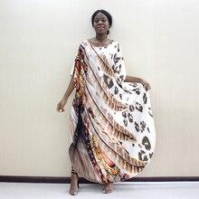 2019 Últimas Chegadas Dashikiage Leopard & Teste Padrão Da Pena Imprimir Dashiki Africano Mulheres Plus Size Vestido de Moda Feminina Vestido de Festa