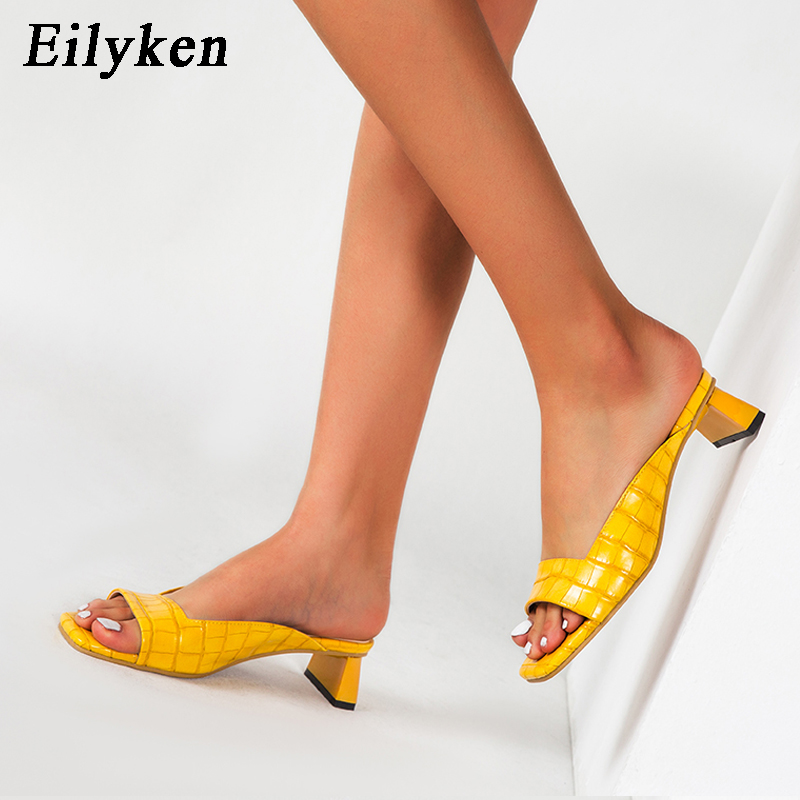 Eilyken 2020 New Mules Ladies Shoes Low Heels Fashion Unique Print Leather Summer Slippers Outdoor Peep Toe Designer Sandals