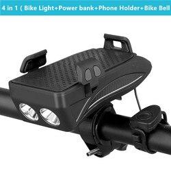 4 w 1 światło rowerowe uchwyt na telefon komórkowy uchwyt na telefon rowerowy ładowarka USB klakson rowerowy uchwyt na telefon z Power Bank latarka rowerowa