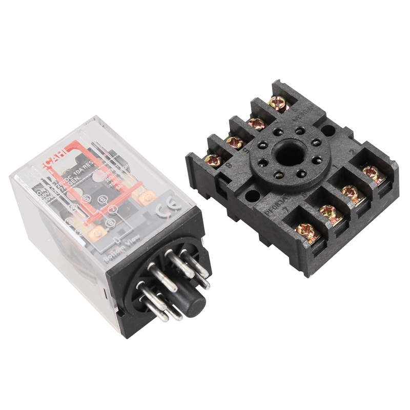 New MK2P-I Clear Shell DPDT AC220V Coil Power Relay Socket Base