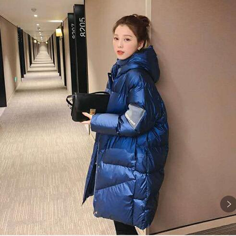 2019 Winter Down cotton Thick Parka Womens Glossy Hooded Jackets Winter Warm Armband Bread service Parka Loose Coat Winter Women