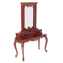 Dollhouse Miniature 1/6 Wooden Dresser Toilet Table for Action Figures 12inch Dolls Accessory Brown Color