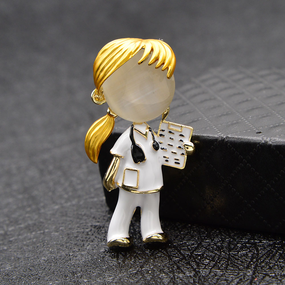CINDY XIANG Opal Enamel Doctor Boys And Girls Brooches Medical Brooch Pin Nurse Jewelry Fashion Jewelry 2 Style Available Gift