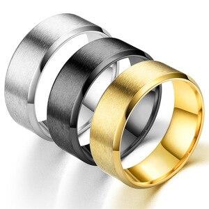 8 мм золотистый и черный серебристый Цвет нержавеющая сталь Простые Кольца для мужчин, ювелирное изделие для помолвки, свадьбы, вечерние под...