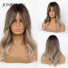 Pelucas JONRENAU largo sintético Natural ondulado con flequillo, pelucas de cabello Ombre marrón a rubio para mujeres blancas/negras
