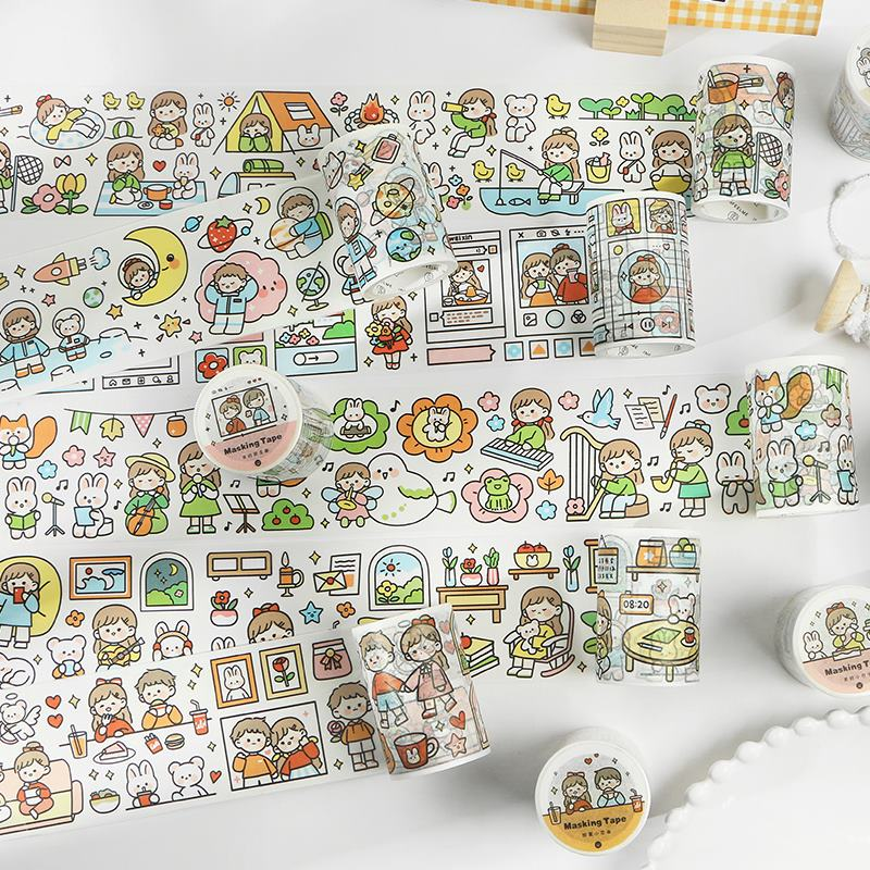6cm Wide With You Series Bullet Journal Washi Tape Decorative Cute Girl Adhesive Tape DIY Scrapbooking Sticker Label