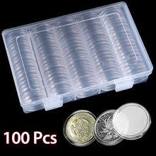 100 шт. 30 мм капсулы для монет круглый пластиковый контейнер для монет коробка контейнер с хранения Органайзер коробка для монет коллекция поставки