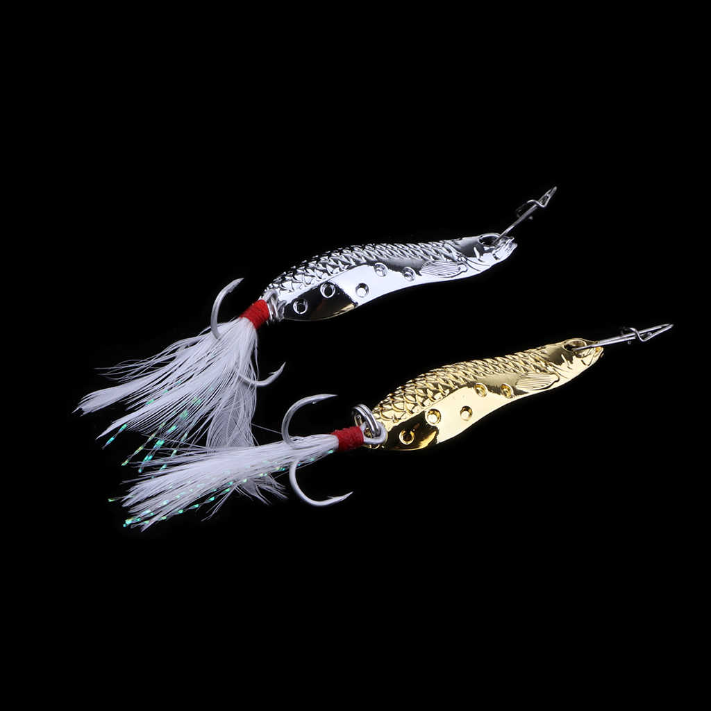 2× Fishing Lures Spoon Hard Baits Salmon Bass Fishing Tackle Golden Silver