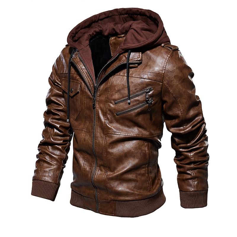 Men Hooded Jacket And Coat Autumn Winter Warm Casual Leather Jackets PU Coats Slim Fit Outerwear Men Hooded Jacket And Coat Autumn Winter Warm Casual Leather Jackets PU Coats Slim Fit Outerwear Male Zipper Hoody Sportswear