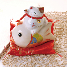 6 inch lucky cat ceramic lucky cat home decorations creative business fortune telling gift Feng Shui cat piggy bank crafts