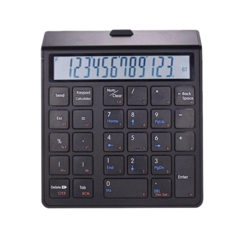 Bilgisayar ve Ofis'ten Hesap Makineleri'de Kablosuz Bt 28 tuşları şarj edilebilir akıllı sayısal tuş takımı klavye ve hesap makinesi fonksiyonu veri girişi ile ekran pencereler/ title=