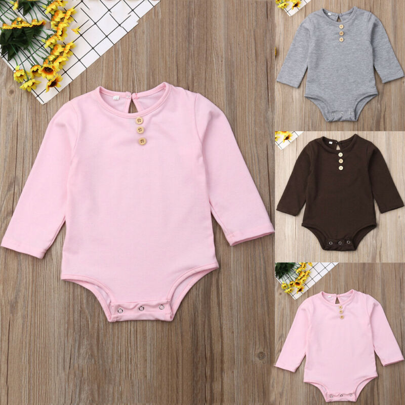 0-18M Unisex Baby Bodysuit Long Sleeve Baby Girls Bodysuit Pink Gray Brown Newborn Clothes O-Neck Baby Boy Jumpsuit Kid Playsuit