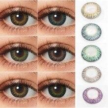 Lentilles de Contact colorées pour les yeux, 1 paire de lentilles de Contact bleues, Contact annuel, 3 tons