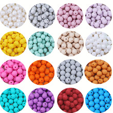 TYRY.HU 50Pcs 12mm Silikon Zahnen Bead Baby Kautable Beißring Schnuller Clips Perlen Food Grade Silikon BPA FREI Zahnen spielzeug