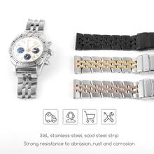 Bracelet de montre en acier inoxydable bracelets de montre, 22mm 24mm, marque pour Bracelet Ocean Watch, 18mm, 20mm, argent, or, noir