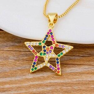 Новые простые ювелирные изделия, Блестящий горный хрусталь, кубический циркон, звезда, кулон, ожерелье, пентаграмма, лучший подарок на день ...