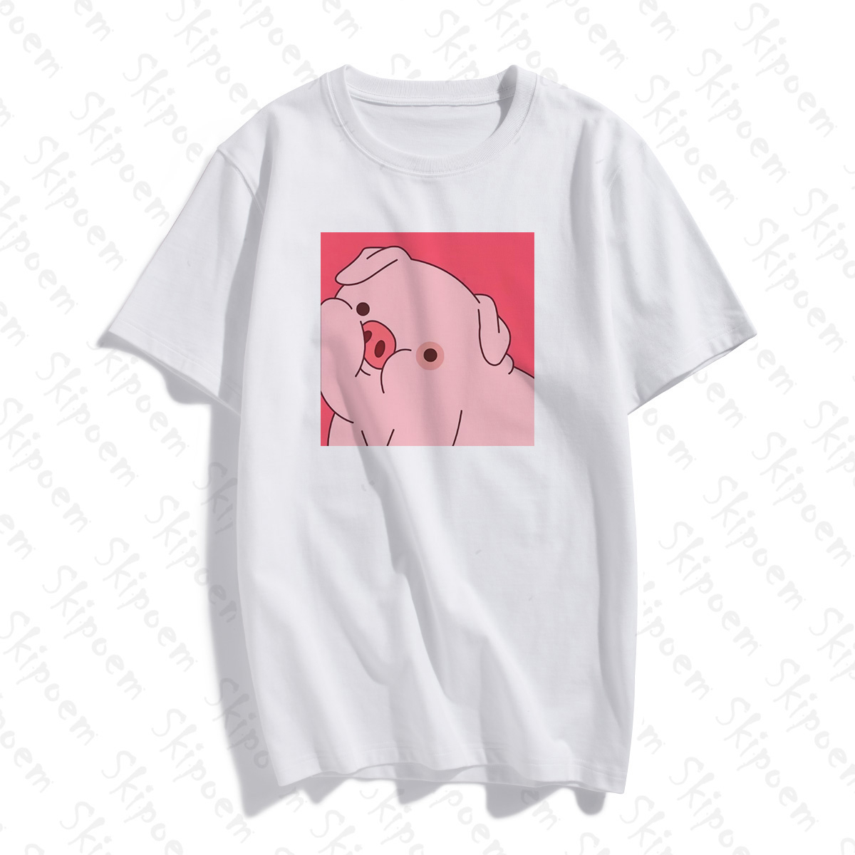 Kawaii Pink Pig T Shirt Women Vintage Harajuku Aesthetic Tumblr Korean Style Cotton Short Sleeve Plus Size Clothes Streetwear