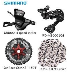 Shimano XT M8000 4 Uds bicicletas bicicleta mtb 11 velocidad de grupo RD-M8000 palanca con SunRace cassette K7 KMC cadena 11-46T 11-50T