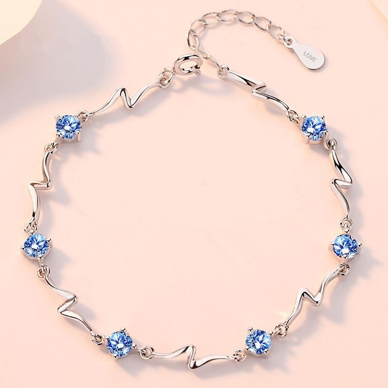 DAIWUJAN Delicate 925 Sterling Silver Zirconia Bracelets Lightning Chain Women Bracelet Female Engagement Valentines Jewelry