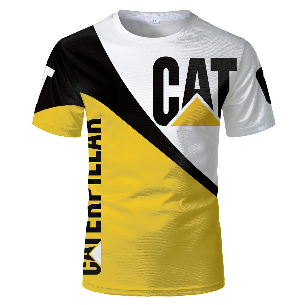 3dT cat and caterpillar print T-shirt Polyes fashion short-sleeved black T-shirt 2021 new summer