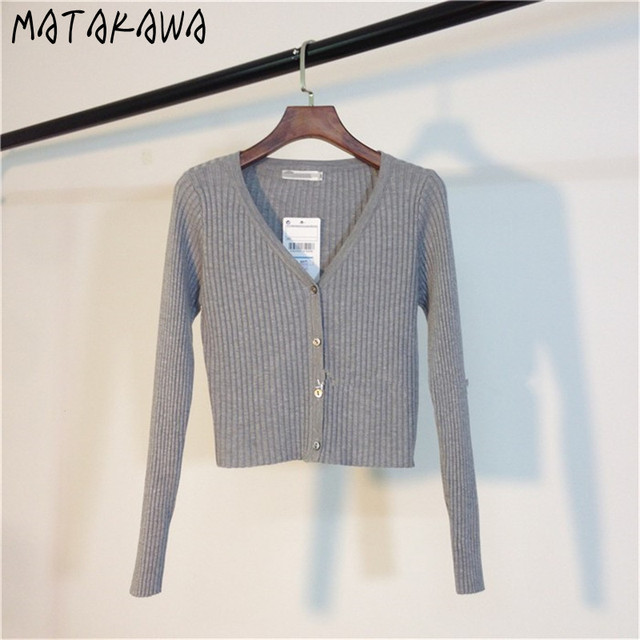 MATAKAWA Sexy Long Sleeve Buttons Women's Sweater Patchwork  2020 Fashion Ribbed  Slim Sweaters Ladies Knitted Cardigan 6