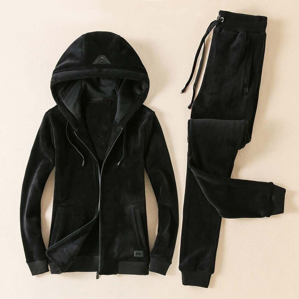 Men's 2020 Pleuche Winter Plus Velvet Thickening 2-piece Fleece Warm Youth Sports Suit Mens Running Suits