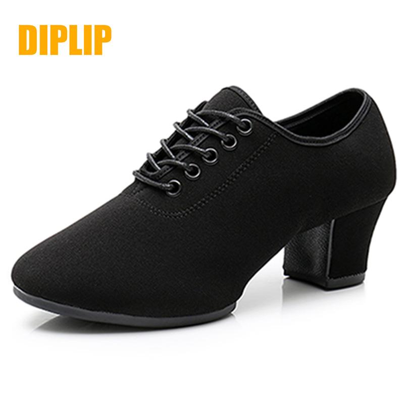 DIPLIP New Latin Dance ShoesTango Salsa Girls Woman Adult Modern Ballroom Dance Shoes Teacher Shoes 3.5/5cm Oxford Sneakers