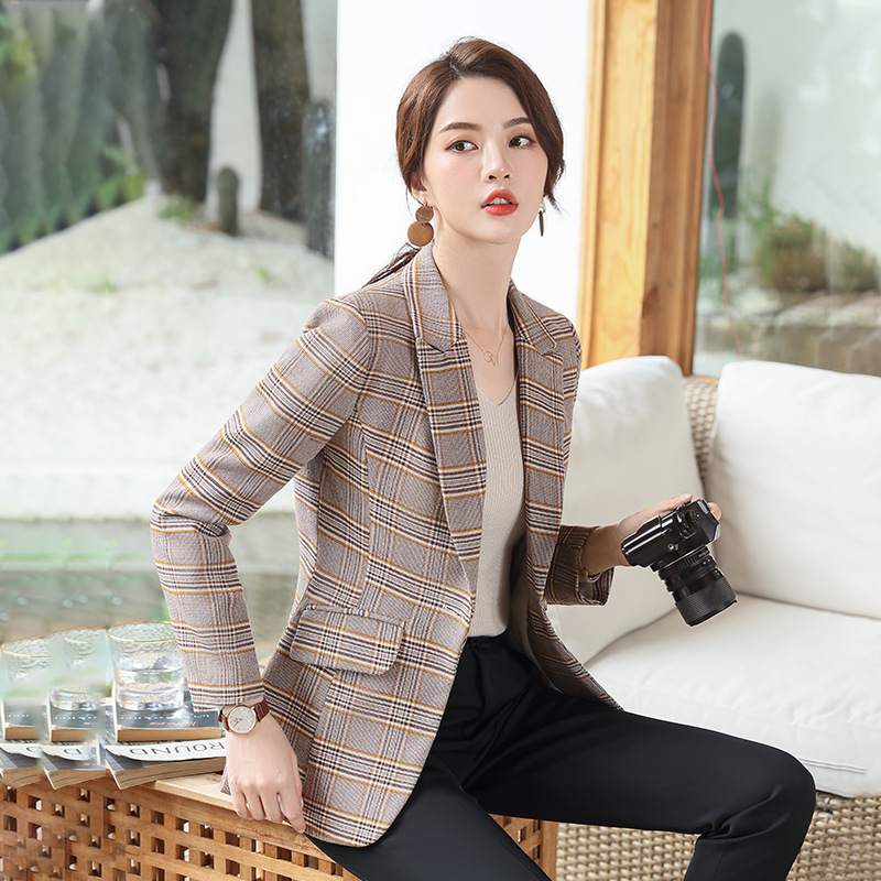 Women's professional blazer 2019 new long-sleeved plaid ladies jacket high quality Temperament Slim Office Women's Suit Winter