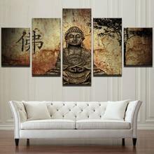 5 шт. винтажная Картина на холсте с принтом Будды дзен, домашний декор, модульные картины для гостиной, Настенная картина постер в рамке
