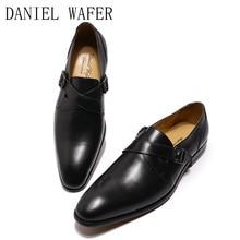 2020 New Shoes Men Genuine Leather Luxury Formal Footwear Penny Slip-on Dress Wedding Office Business Pointed Toe Shoe