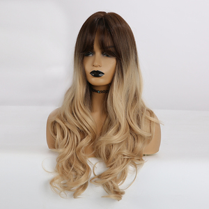 Image 4 - ALAN EATON Long Wavy Hair Wigs with Bangs Ombre Black Dark Brown Gloden Blonde Synthetic Wigs for Black Women Heat Resistant Wig