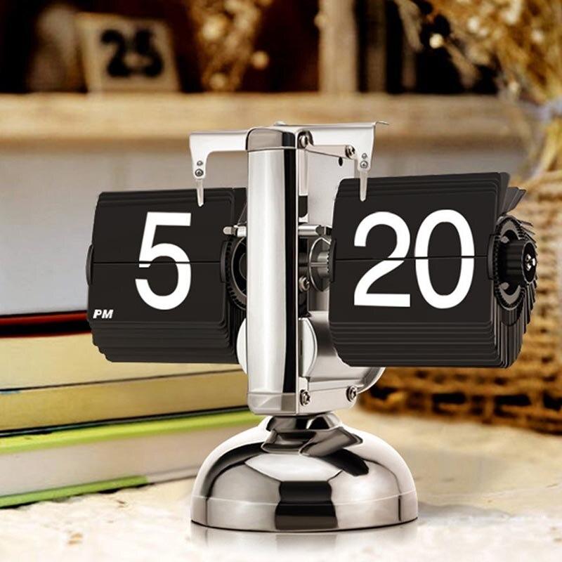 Horloge Flip rétro mur bureau bureau horloge Table montre Vintage Auto Flip Down interne engrenage actionné Stand horloges mécanisme cadeaux