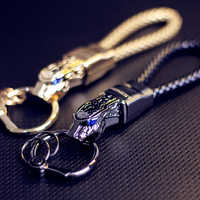 Honest Luxury Men Women Car Key Chain Rhinestones Custom KeyChain High-Grade Purse Charm Jewelry Leather Rope Fathers Day Gift