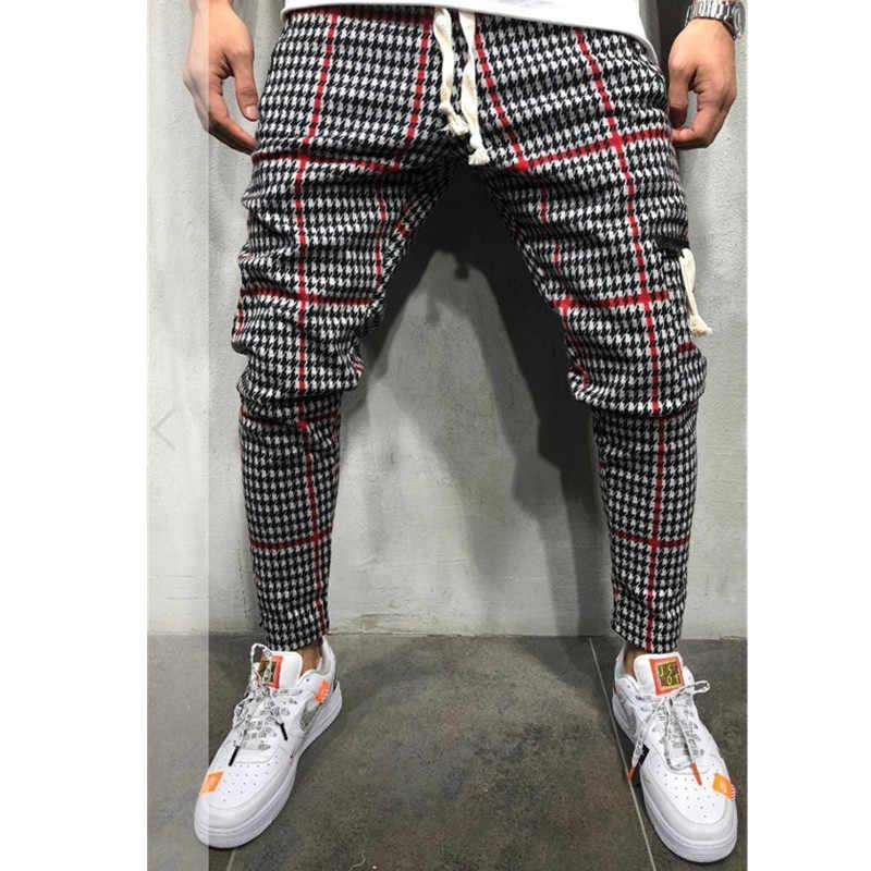 Повседневное клетчатая ботильоны-Длина штаны, мужские брюки в стиле «хип-хоп», для бега, брюки мужские тренировочные брюки японский уличная Для мужчин Штаны 2019 Ne